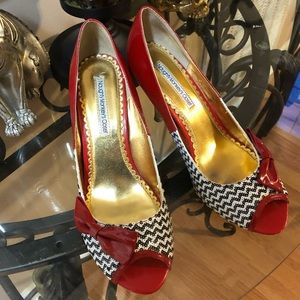 Naughty Monkey sequin high heels red bows pinup